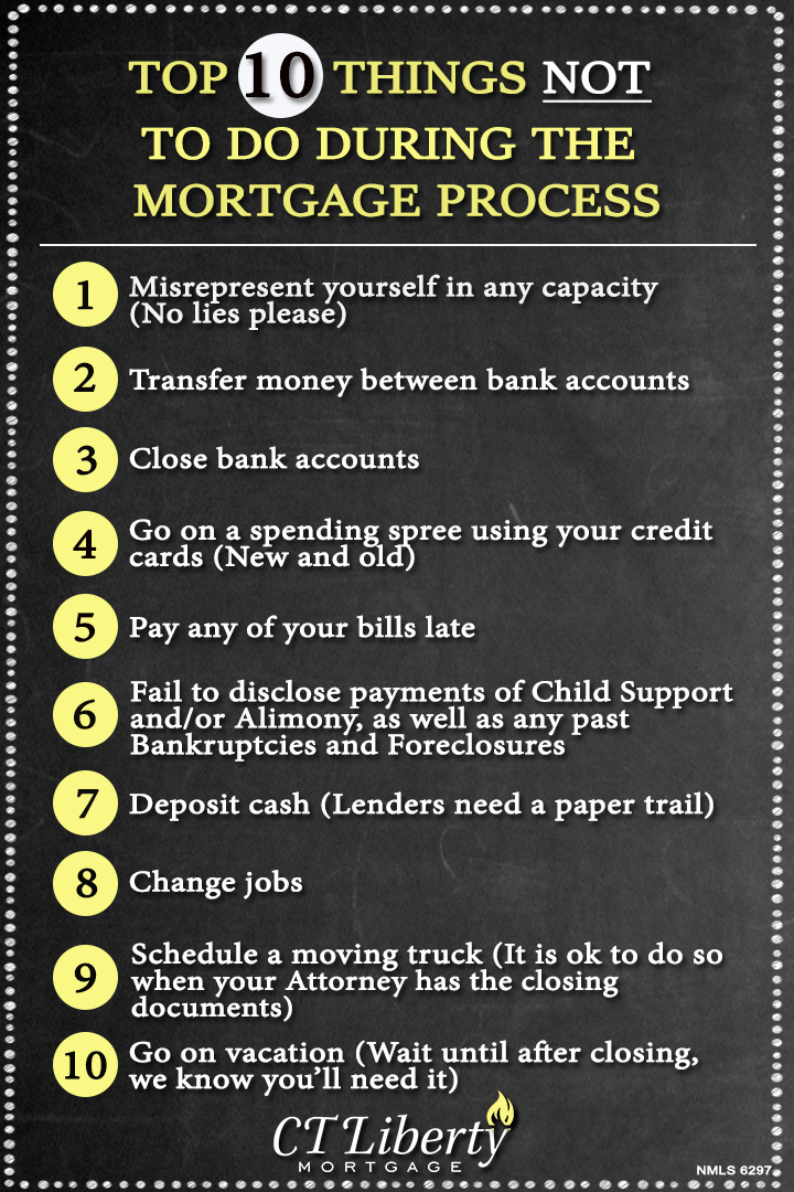 Top 10 Things NOT To Do During The Mortgage Process